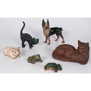 Cast Iron Animal Door Stops and Still Bank