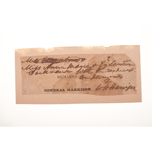 William Henry Harrison Clipped Inscription with Signature