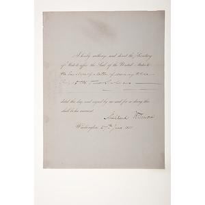 Millard Fillmore DS as President, June 27, 1851