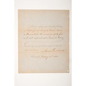 James Buchanan Document Signed as President, January 21, 1860