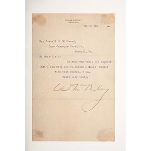 William McKinley TLS, March 6, 1896