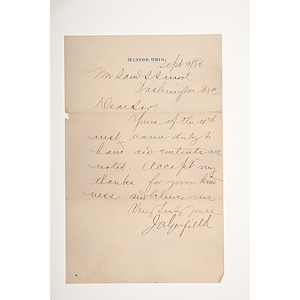 James Garfield ALS, September 9, 1880