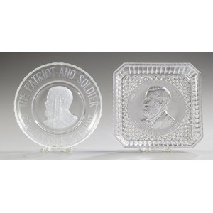 Two Grant Pattern Glass Bread Plates,