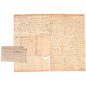Continental Army Gen. James M. Varnum, Later Copy of his Last Letter Written from Marietta, Northwest Territory (Ohio)