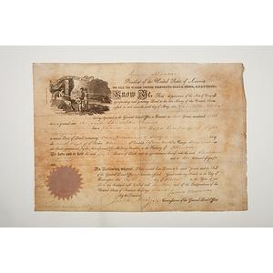 James Monroe Presidential Signed Land Grant, 1817