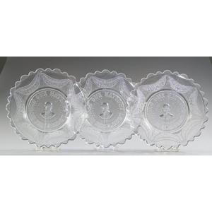 Three Pattern Glass Garfield Mourning Plates,