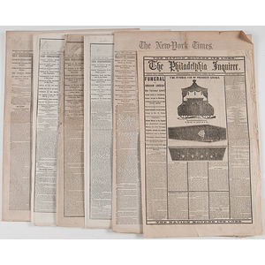 Abraham Lincoln's Assassination, New York & Philadelphia Newspapers Covering Lincoln's Death & Funeral, Plus Other Civil War-Period Newspapers Inc. Account of Gettysburg
