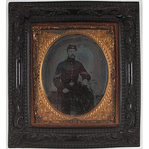 Civil War Sixth Plate Ambrotype Housed in Thermoplastic Frame
