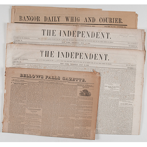 Newspapers Covering the Deaths of Presidents William Henry Harrison, Zachary Taylor, and James Garfield