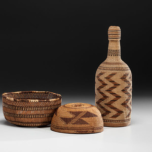 Northern California Hat, Bowl, and Basketry Covered Bottle Deaccessioned from the Hopewell Museum, Hopewell, New Jersey