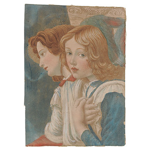 Watercolor of Two Angelic Children,