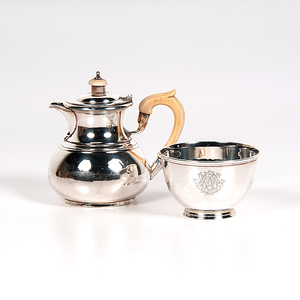 Contemporary English Sterling Teapot and Waste Bowl