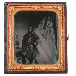 Sixth Plate Ambrotype of Flag Bearer, Nathan Gillette, 1st Conn. Lt. Battery, with National Colors