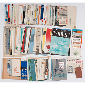 Collection of Early 20th Century Aviation Pamphlets, Travel Brochures,Company Magazines, Ticket Stubs and Advertisements with Photos and Prices, Incl. Detroit Aircraft Corp. and Ryan Aeronautical Co.