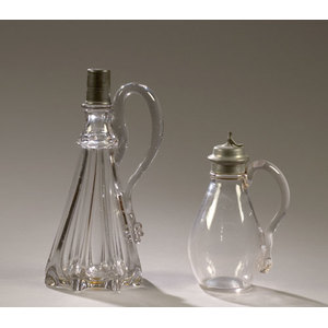 Early Midwestern Pillar Mold Decanter & Syrup,