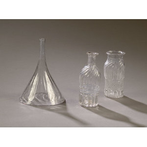 Midwestern Ribbed Glass Funnel & Early Three Mold Bottles,