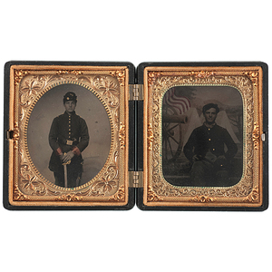 Two Civil War Sixth Plate Tintypes Housed in a Patriotic Union Case