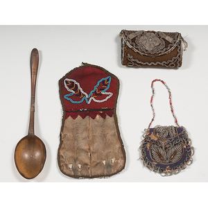 Tlingit Beaded Hide Wall Pocket, Iroquois Beaded Sewing Kit and Purse, and a Horn Spoon