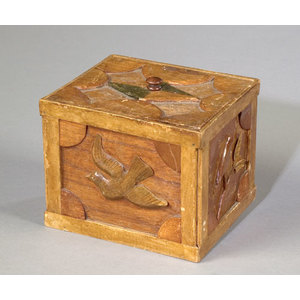 Tramp Art Box with Doves,