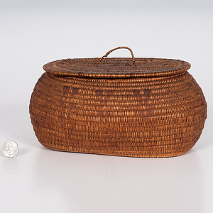 Lillooet Lidded Basket Deaccessioned from the Hopewell Museum, Hopewell, New Jersey