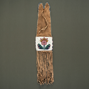 Plains Cree Beaded Hide Tobacco Bag From a Minnesota Collection