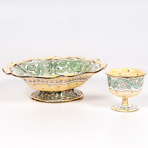Wedgwood Stella Queen's Ware Dish and Goblet