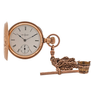 Illinois Hunter Case Pocket Watch with Fob, Ca 1890