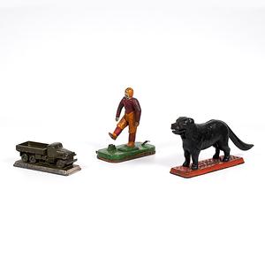 Cast Iron Dog Nut Cracker and Football Toy, Plus