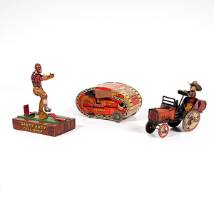 Louis Marx & Co. Tin Lithograph Turnover Tank and Whoopee Car, Plus