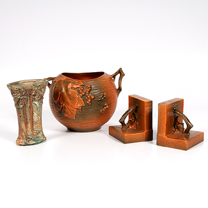 Roseville Pottery Vase and Bookends, Plus
