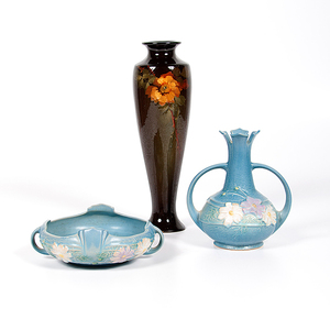 Roseville Pottery Vase and Bowl, Plus