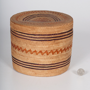 Large Makah/ Nuu-chah-nulth Polychrome Lidded Basket from the Historic Glen Isle