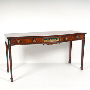 Georgian-Style Serpentine Front Sideboard in Mahogany with Eglomise