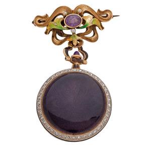 Longines 18 Karat Pendant Watch with Diamonds, Enamel and Matching Pin