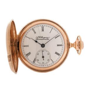 A.E. Rogers Elgin Hunter Case Pocket Watch in 14 Karat