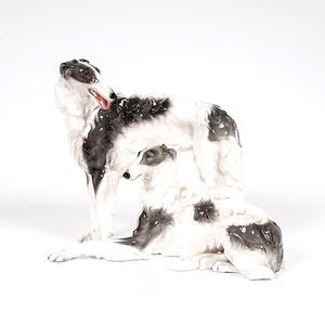 Goldscheider Porcelain Wolfhounds