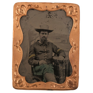 Civil War Quarter Plate Tintype of 29th or 31st Connecticut Colored Infantry Sergeant