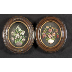 Pair of Oval Framed Victorian Shell Displays,