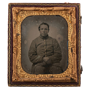 Civil War Sixth Plate Ambrotype of Confederate Soldier Elbert Dorn