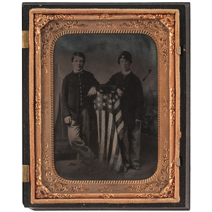Quarter Plate Tintype of Two Boys in Military Uniforms, Posed with the American Flag