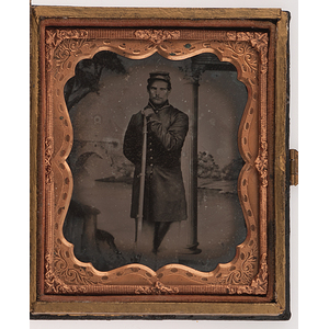 Civil War Sixth Plate Ambrotype of Armed Union Soldier, In Patriotic Case