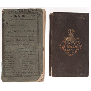 Two Early Boston Imprints Including 1823 Directory and 1852 Almanac