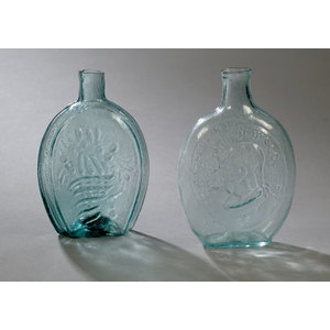 Washington & Taylor & Lancaster Glass Works Aqua Flask,