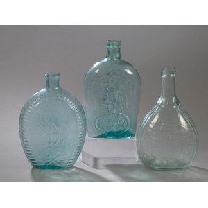 Three Aqua Historic American Flasks,