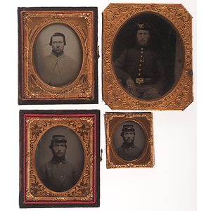 Civil War Tintypes & Ambrotype of Soldiers, Group of Four
