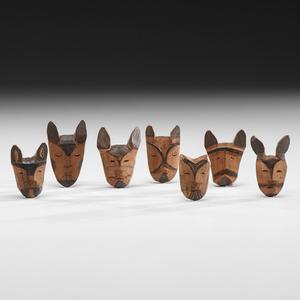 Eskimo Painted Wood Maskettes