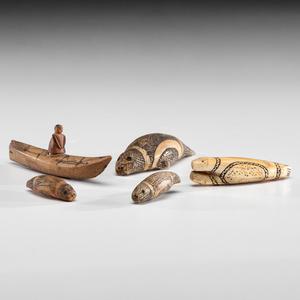 Eskimo Carved Bone, Wood, and Walrus Ivory Figures