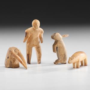 Eskimo Carved Walrus Ivory Figures