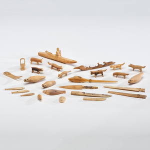 Eskimo Carved Walrus Ivory and Bone Charms and Figures