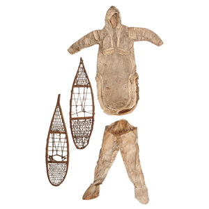 Eskimo Miniature Hide Parka, Leggings and Snowshoes